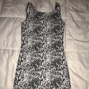 Black and white patterned tight mini dress